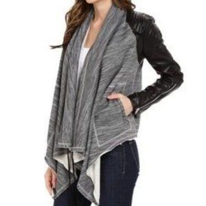 Blank NYC - Cardigan Jacket Vegan Leather Shoulder